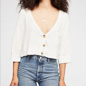 Free People Cream Button Up Best Cardi